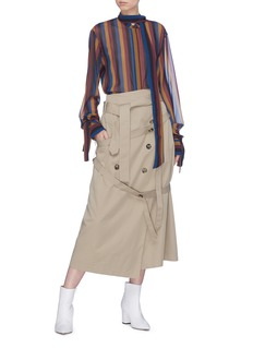 rokh Open back sash neck stripe tunic top