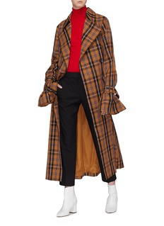 rokh Long sleeve check plaid trench coat