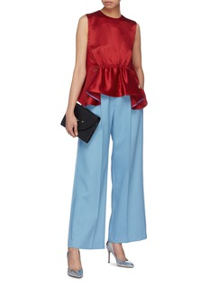 Roksanda Drawcord ruched waist silk peplum top