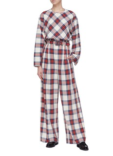 Ms MIN Wide sleeve tartan plaid blouse