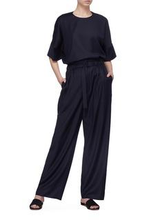 Ms MIN Belted wool-silk twill wide leg pants