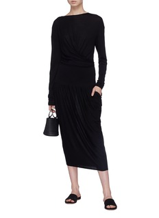 Ms MIN Drape mock wrap wool knit dress