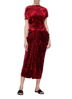Ms MIN Drape crushed velvet dress