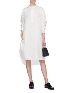 Ms MIN Mandarin collar silk shirt dress