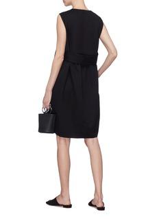 Ms MIN Belted pleated back wool dress