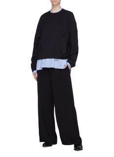 Ms MIN Drawstring waist straight leg pants