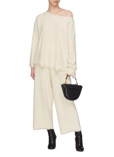 Ms MIN Frayed edge wide leg wool pants