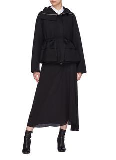 Ms MIN Drawstring waist hooded wool twill jacket