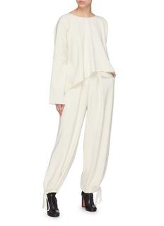 Ms MIN Drawstring cuff flap pocket wool pants