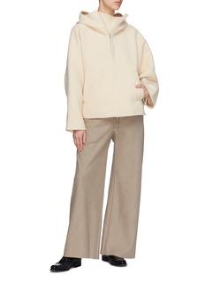 Ms MIN Wool-cashmere half-zip funnel neck top