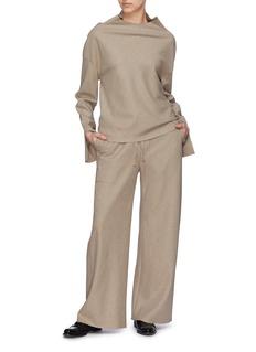 Ms MIN Cutout cuff stand collar wool top