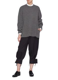 Ms MIN Zip folded cuff wool twill pants