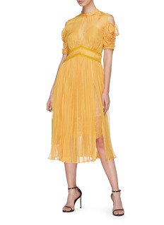 self-portrait Pleated chiffon cold shoulder dress