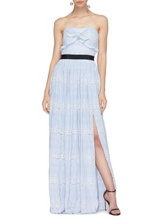 self-portrait Pleated broderie crepe strapless dress