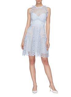self-portrait Sweetheart halterneck guipure lace dress