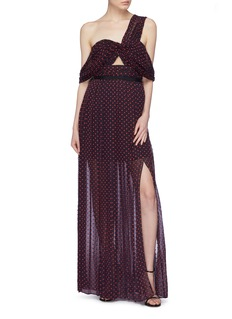 self-portrait Cutout one-shoulder plumetis dress