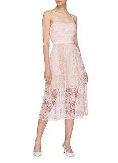 self-portrait Floral mesh lace camisole dress