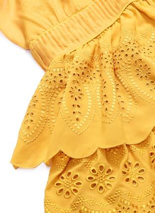 - SELF-PORTRAIT - Ruffle chiffon panel tiered broderie anglaise mini dress