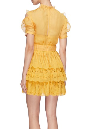 Back View - Click To Enlarge - SELF-PORTRAIT - Ruffle chiffon panel tiered broderie anglaise mini dress