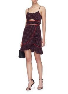 self-portrait Cutout ruffle plumetis mini dress
