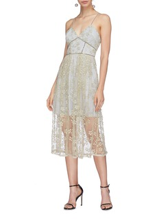 self-portrait Chain trim floral embroidered layered mesh dress
