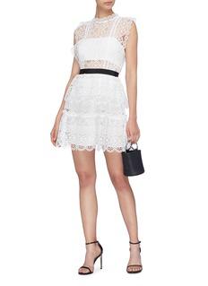 self-portrait Ruffle guipure lace mini dress