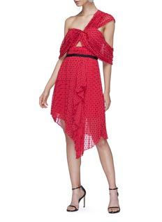 self-portrait Cutout asymmetric plumetis one-shoulder dress