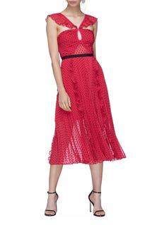 self-portrait Keyhole ruffle pleated plumetis dress
