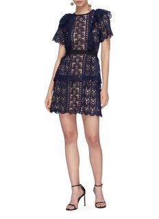 self-portrait Ruffle floral guipure crochet lace dress