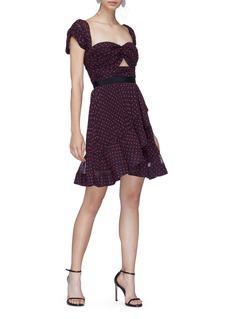 self-portrait Cutout plumetis off-shoulder dress