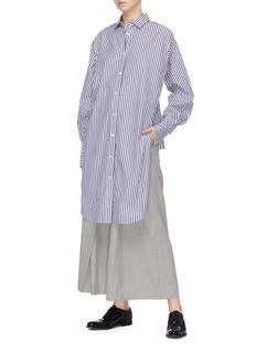 The Keiji Stripe reversed high-low shirt