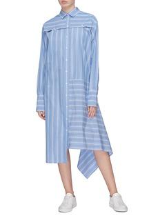 The Keiji Convertible asymmetric drape hem stripe shirt dress