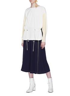 TOGA ARCHIVES Drawstring colourblock velour sweatshirt