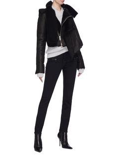 Ben Taverniti Unravel Project  Asymmetric drape shearling jacket