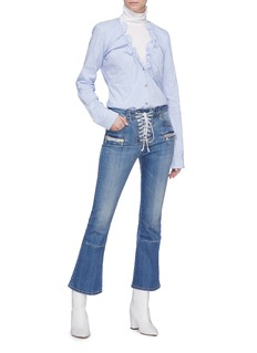 Ben Taverniti Unravel Project  Lace-up cropped flared jeans