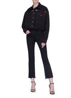 Y/Project Cutout oversized unisex denim shirt