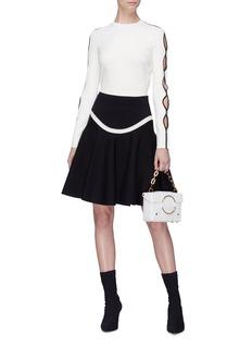 Alexander McQueen Curved stripe wool blend flared skirt