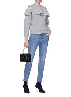 Alexander McQueen Ruffle yoke wool-cashmere cold shoulder sweater