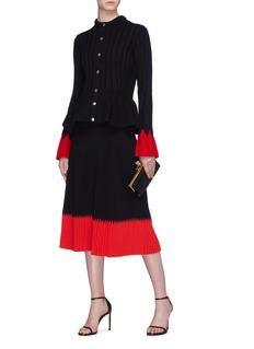 Alexander McQueen Colourblock cuff rib knit peplum cardigan