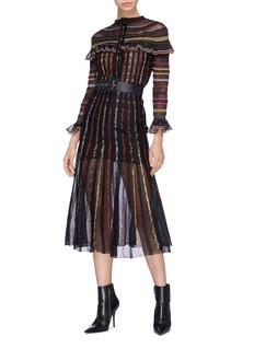Alexander McQueen Stripe gauze midi skirt
