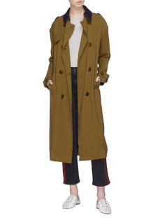VICTORIA, VICTORIA BECKHAM Contrast collar belted trench coat