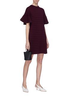 VICTORIA, VICTORIA BECKHAM Flared ruffle sleeve wool ottoman knit dress