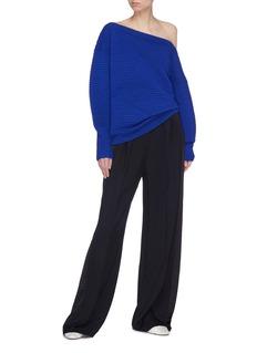VICTORIA, VICTORIA BECKHAM Wool ottoman knit one-shoulder sweater
