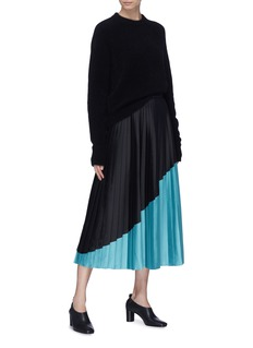 VICTORIA, VICTORIA BECKHAM Colourblock pleated skirt