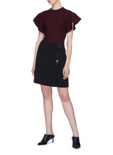 VICTORIA, VICTORIA BECKHAM Flared ruffle sleeve wool rib knit sweater
