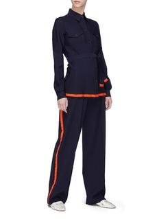 VICTORIA, VICTORIA BECKHAM Stripe outseam wool pants