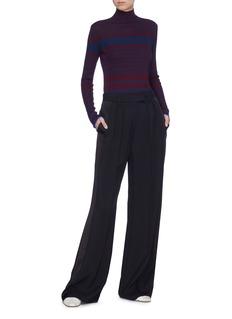 VICTORIA, VICTORIA BECKHAM Variegated stripe ribbed wool blend turtleneck sweater