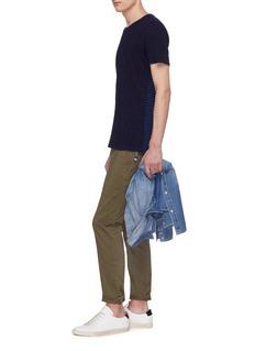 DENHAM Stripe panel back T-shirt