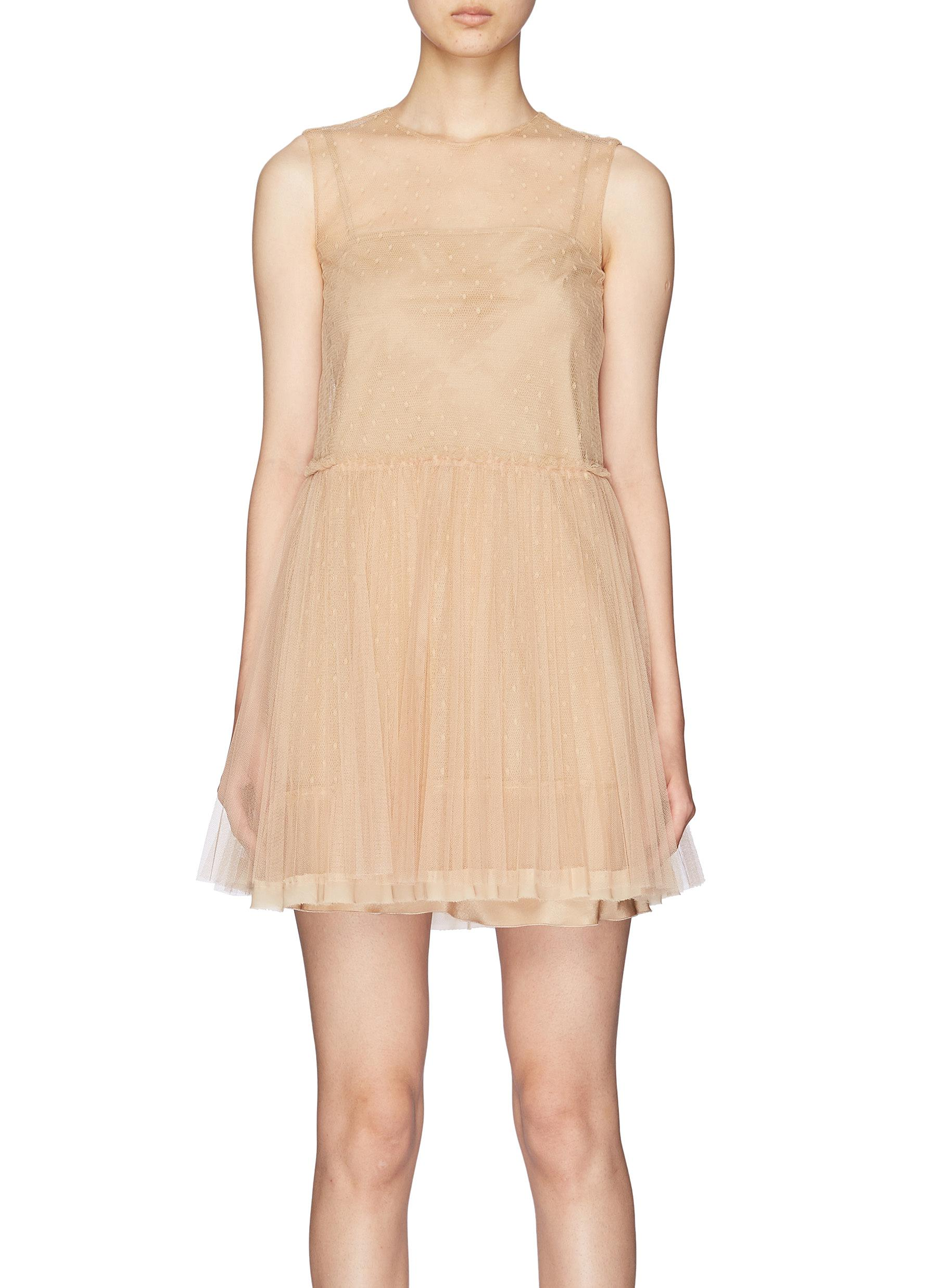 6c9b3a9bc5 RED VALENTINO | Pleated skirt point d'esprit sleeveless tulle dress ...