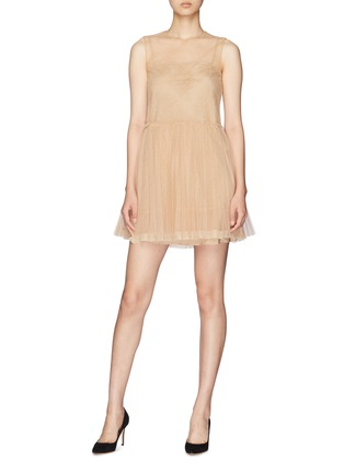 03e395cb84 Figure View - Click To Enlarge - RED VALENTINO - Pleated skirt point  d'esprit